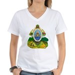 Honduras Coat of Arms (Front) Women's V-Neck T-Shi