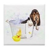 Bubble Bath Basset Tile Coaster