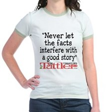 Never Let the Facts... (Roz) Jr. Ringer T-Shirt
