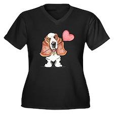 Basset Heart Balloon Women's Plus Size V-Neck Dark