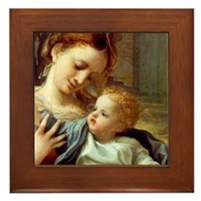 Madonna with Child Framed Tile