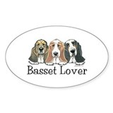 Basset Hound Lover Oval Sticker (10 pk)