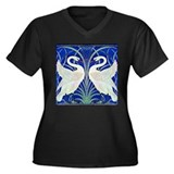 THE SWANS Women's Plus Size V-Neck Dark T-Shirt