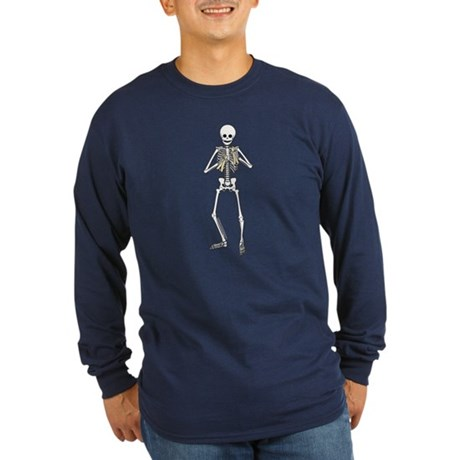 Skeleton Bone Player Long Sleeve Dark T-Shirt