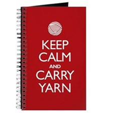 Red Keep Calm and Carry Yarn Journal
