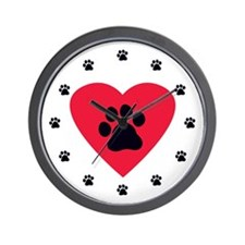 Heart and Pawprint Wall Clock