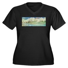 NEPTUNE'S HORSES Women's Plus Size V-Neck Dark T-S