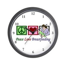 Peace Love Breastfeeding Wall Clock