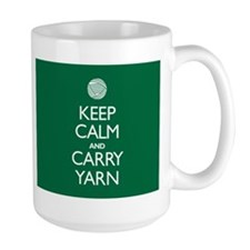 Large Green Keep Calm and Carry Yarn Mug