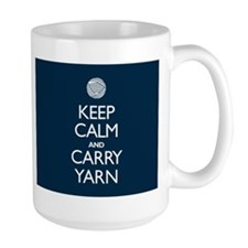 Large Navy Keep Calm and Carry Yarn Mug