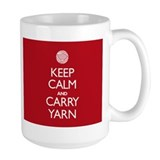 Large Red Keep Calm and Carry Yarn Mug