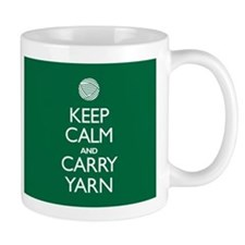 Green Keep Calm and Carry Yarn Coffee Mug