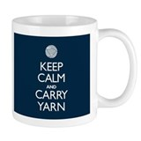 Navy Keep Calm and Carry Yarn Small Mug
