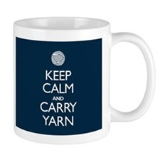 Navy Keep Calm and Carry Yarn Small Mugs