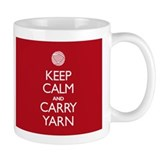 Red Keep Calm and Carry Yarn Tasse