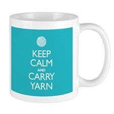 Turquoise Keep Calm and Carry Yarn Mug