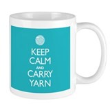 Turquoise Keep Calm and Carry Yarn Small Mug