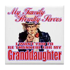 Military Family Granddaughter Tile Coaster