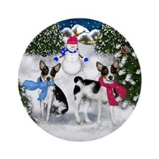 Rat Terrier Dogs Winter Ornament (Round)