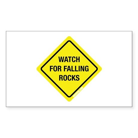 Watch For Falling Rocks Rectangle Sticker