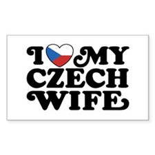 I Love My Czech Wife Rectangle Decal