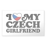 I Love My Czech Girlfriend Rectangle Decal