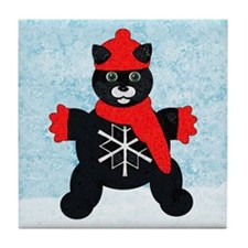 Snowflake Kitten Art Tile