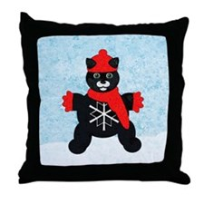 Snowflake Kitten Throw Pillow