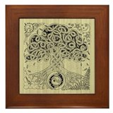 Celtic Tree of Life Ink Framed Tile