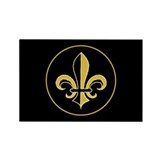 Fleur Black and Gold Rectangle Magnet (10 pack)