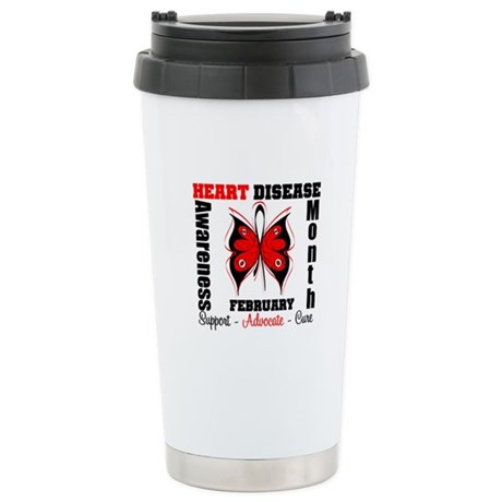 ButterflyHeartDiseaeMonth Ceramic Travel Mug