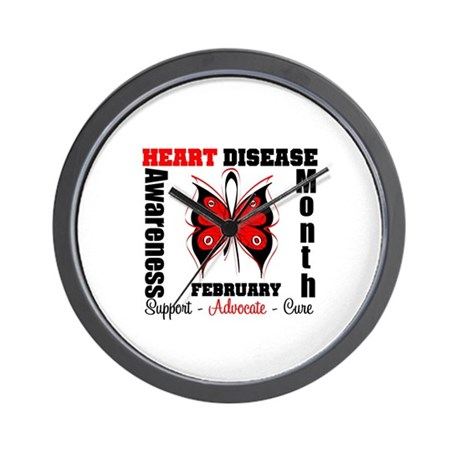ButterflyHeartDiseaeMonth Wall Clock
