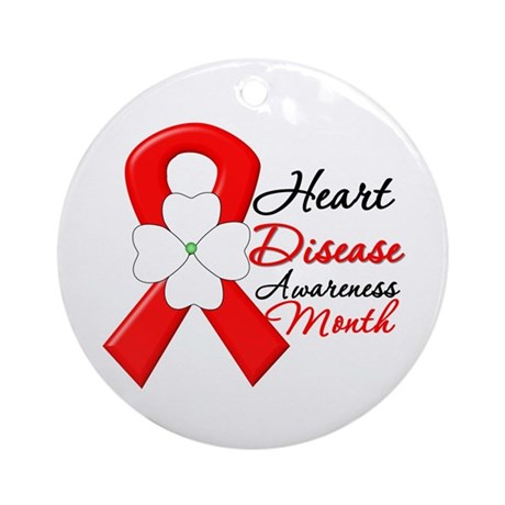 FlowerRibbonHeartDisease Ornament (Round)
