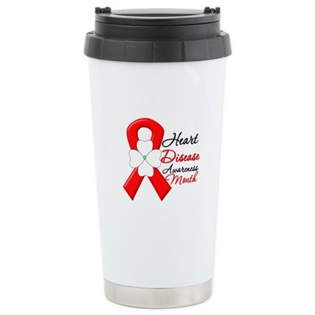 FlowerRibbonHeartDisease Ceramic Travel Mug