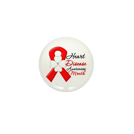 FlowerRibbonHeartDisease Mini Button (100 pack)