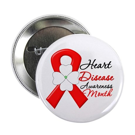 "FlowerRibbonHeartDisease 2.25"" Button (100 pack)"