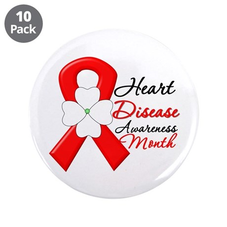 "FlowerRibbonHeartDisease 3.5"" Button (10 pack)"