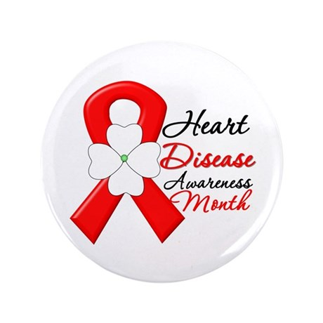 "FlowerRibbonHeartDisease 3.5"" Button (100 pack)"