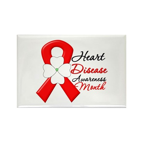 FlowerRibbonHeartDisease Rectangle Magnet (100 pac