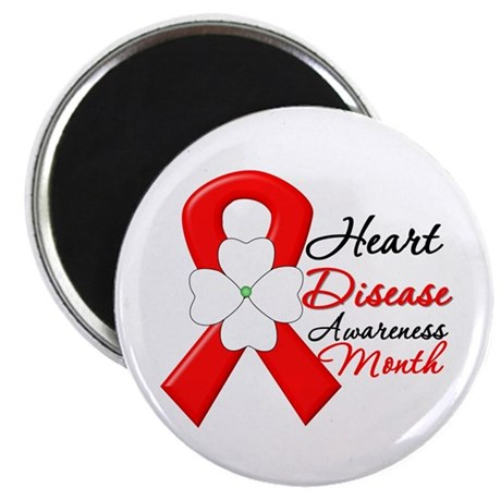 "FlowerRibbonHeartDisease 2.25"" Magnet (10 pack)"