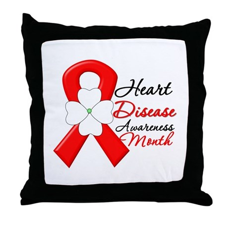 FlowerRibbonHeartDisease Throw Pillow