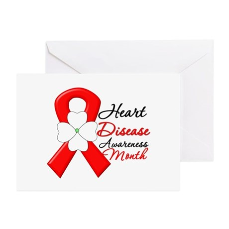 FlowerRibbonHeartDisease Greeting Cards (Pk of 20)