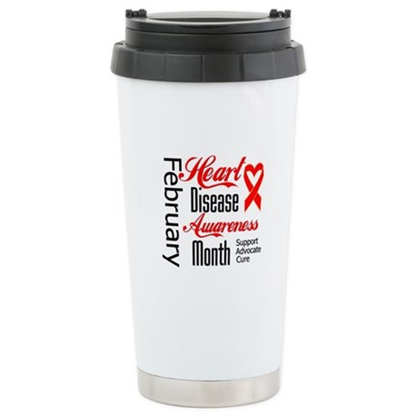 HeartDiseaseMonthRibbon Ceramic Travel Mug