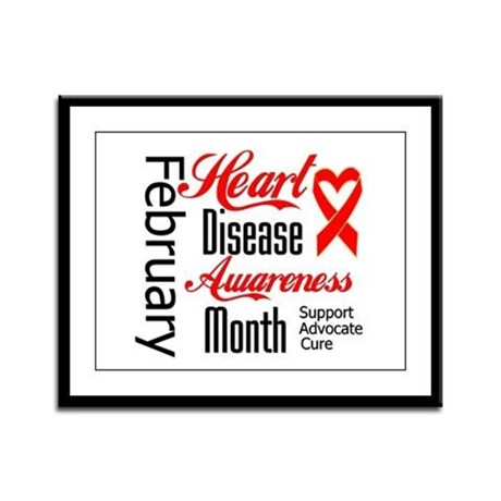 HeartDiseaseMonthRibbon Framed Panel Print