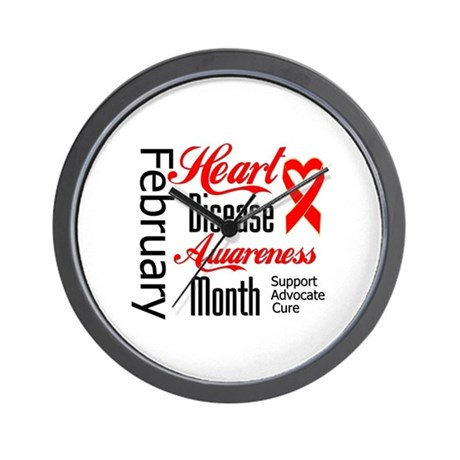 HeartDiseaseMonthRibbon Wall Clock