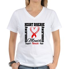 SupportHeartDiseaseMonth Women's V-Neck T-Shirt