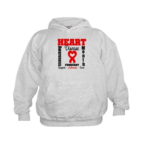 HeartDiseaseRibbonMonth Kids Hoodie