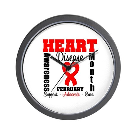 HeartDiseaseRibbonMonth Wall Clock