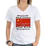 Boycott Red China Women's V-Neck T-Shirt