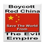 Boycott Red China Tile Coaster